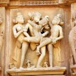 Group Sex Figures in Kama Sutra Temples in India — Stock Photo