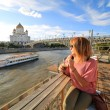 Woman drinking cocktail, moscow city — Stock Photo