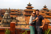 Tourist couple at Patan Square, Kathmandu, Nepal — Stock Photo