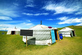 Mongolian ger camps with solar power — Stock Photo