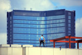 Repairment worker at rooftop — Stock Photo