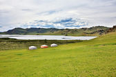 Yurt settlements, Terkhiin Tsagaan Lake, central mongolia — Stock Photo