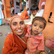 Stock Photo: JAIPUR, INDI- APRIL, 2013: Indimother and kid