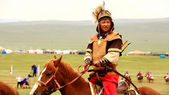 ULAANBAATAR, MONGOLIA - JULY 2013: Naadam Festival Horse Archery — Stock Photo