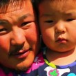 Mongolian man with his daughter — Stock Video #38909211