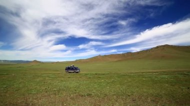 Car going mongolian offroad — Video Stock