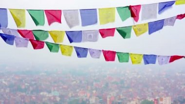 Prayer flags — Stockvideo