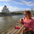 Woman drinking cocktail, moscow city — Stock Video