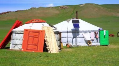 Mongolian ger camps with solar power — Stock Video