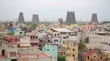 Cityscape with Hindu temples — Stock Video
