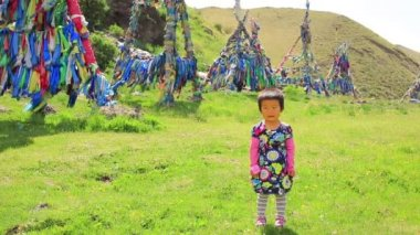 Mongolian girl — Stok video