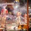 Night praying ceremony, Ganges river — Stock Video