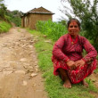 Nepali villager at her village — Stok video