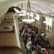 Daily life Moscow metro passengers — Stock Video