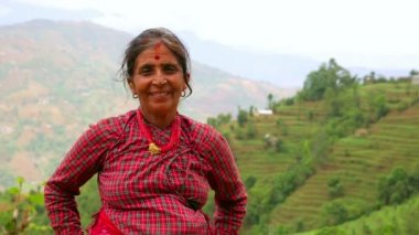Nepali villager at her village — Stock Video