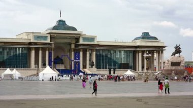 View of Sukhbaatar Square — Stock Video