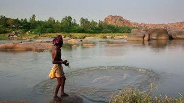 Fisherman casting nets — Stock Video