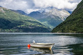 Boat on the Storfjord — Stock Photo