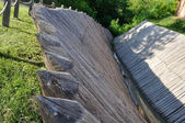 Sharp wooden paling as part of old fort — Stock Photo