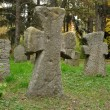 Old stone crosses on a cemetery — Stock Photo