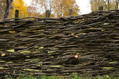 Traditional lath fence around a house in Ukraine — Stock Photo