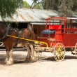 Stage Coach and Clydesdale Draught Horse - Stock Photo