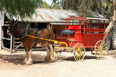 Stage Coach and Clydesdale Draught Horse — Stock Photo
