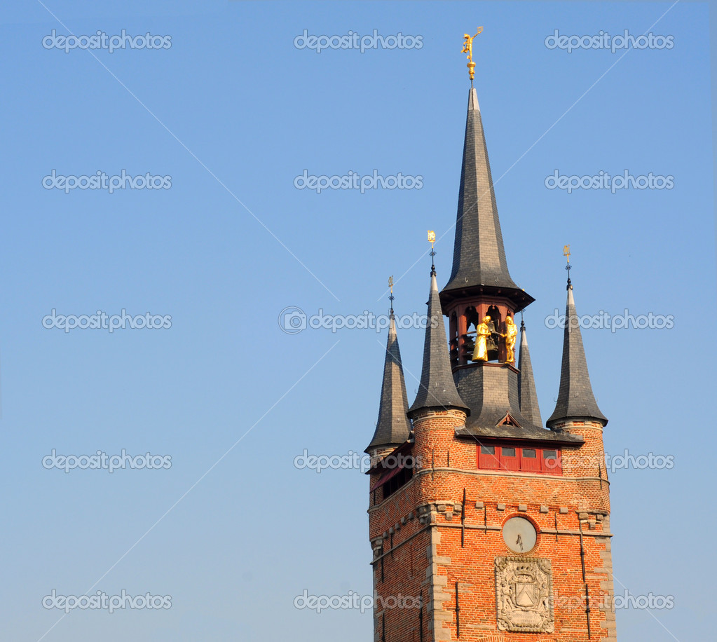 Antique belfry tower against blue sky in courtrai, flanders, belgium, europe  — Stock Photo #12204494