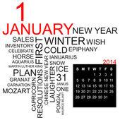 Word cloud January 2014 — Stock Vector