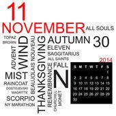 Word cloud November 2014 — Stock Vector