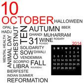 Word cloud October 2014 — Stock Vector