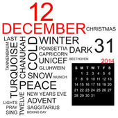 Word cloud December 2014 — Stock Vector