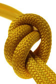 Simple knot on double yellow rope — Stock Photo