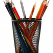Stock Photo: Various colour pencils. isolated on the white background