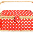 Foto Stock: Red basket with white dots and handle. Isolated on white