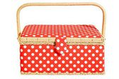 Red basket with white dots and handle. Isolated on white — Stock Photo
