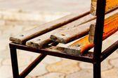 Closeup of broken bench — Stock Photo