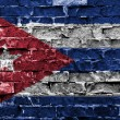 Flag of Cuba painted on brick wall — Stock Photo