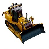 Heavy bulldozer of yellow color on a white background — Foto Stock