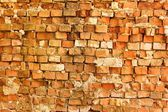Brick Wall. Old Dark Red Bricks with Cracks and Dirt Spots — 图库照片
