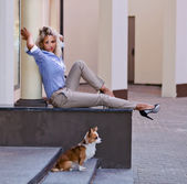 Woman with chihuahua in old city — Stock Photo