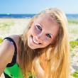 Stockfoto: Happy womin green sundress