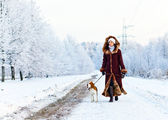 Walking with a dog — Stock Photo