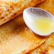 Pancakes and  honey — Stock Photo