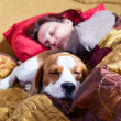 Sleeping woman and its dog — Stock Photo #20938849