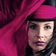 beautiful woman in black hat with purple scarf  — Stock Photo #21739815
