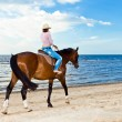 Girl with horse on seacoast — Stock Photo #23681205
