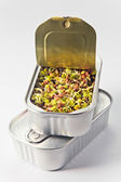 The sprouted seeds in an open can — Stock Photo