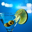 Stock Photo: Martini with lime and green olives