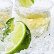 Gold tequila with salt and lime — Stock Photo